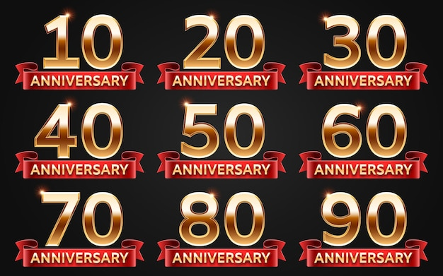 Anniversary design template with gold numbers for invitation card