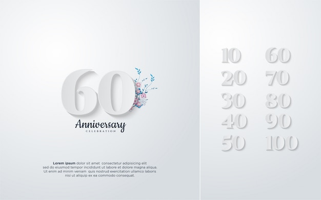 花と白の数字のイラストと周年記念デザイン。