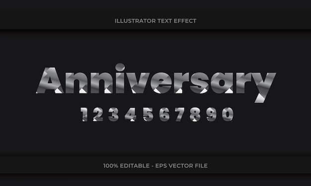 Anniversary editable text effect silver color on dark background with numbering