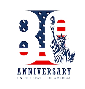 Anniversary eighty year, american flag and statue of liberty