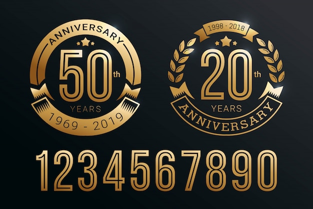 Anniversary emblem template set design with gold number style