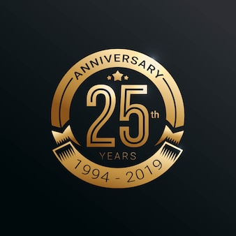Anniversary golden badge 25 years with gold style