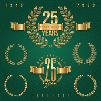 Anniversary golden emblems and decorative elements -   illustration