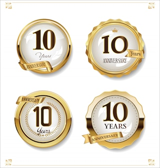 Anniversary golden labels retro vintage design collection