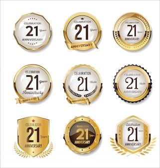 Anniversary golden retro badges collection