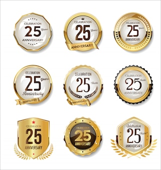 Anniversary golden retro badges collection