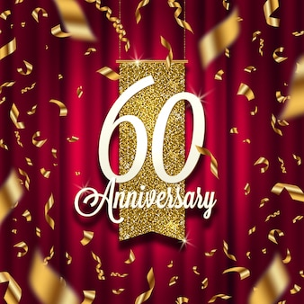 Anniversary golden signboard in spotlight on red curtain background and golden confetti.  illustration.