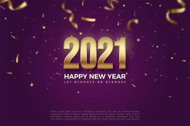 Юбилей с новым годом 2021 фон с падающими золотыми фигурами и бумажными иллюстрациями