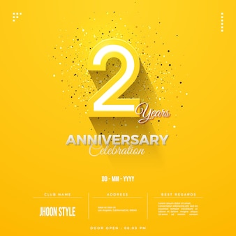 Anniversary invitation with 3d numbers appearing on yellow background