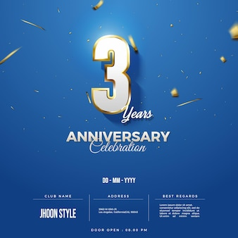 Anniversary invitation with shaded 3d numbers illustration
