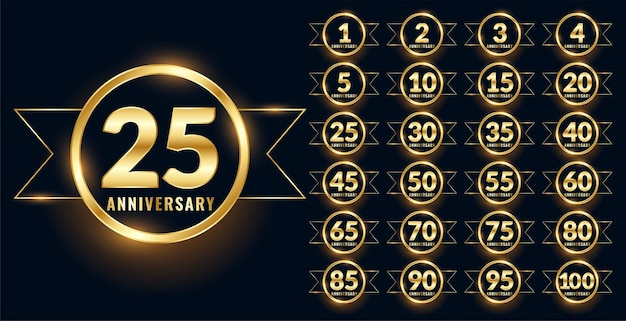 Anniversary label celebration emblem big set