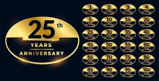 Etichette anniversario in set di colori dorati