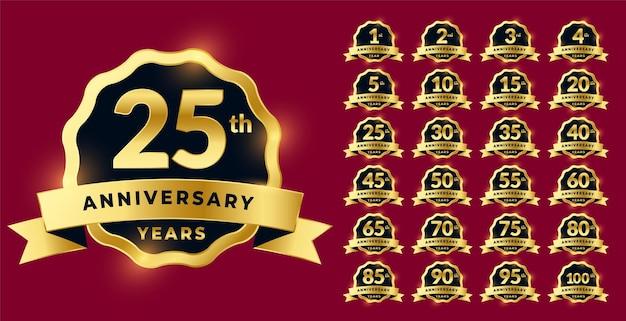 Set di etichette per l'anniversario in stile dorato
