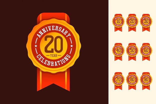 기념일 로고 템플릿. 축하를위한 디자인.