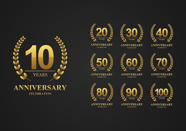 Anniversary logotype set for celebration event wedding greeting card and banner vector illustration
