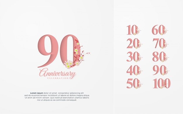 Anniversary number 10 100 with an illustration of a pink number