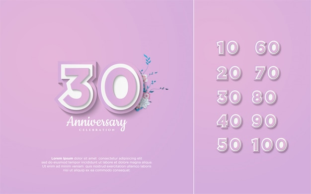 Anniversary numbers 10-100