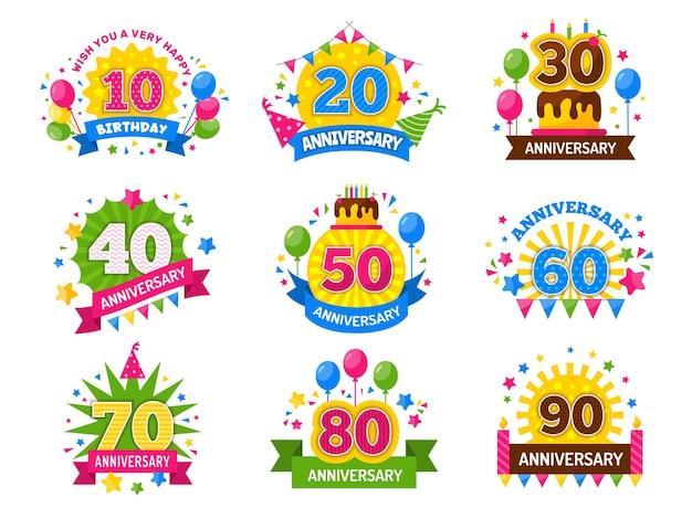 記念日番号。お祝いパーティーの年は、幸せの歓声のためのナンバーフライヤーを祝いました Premiumベクター