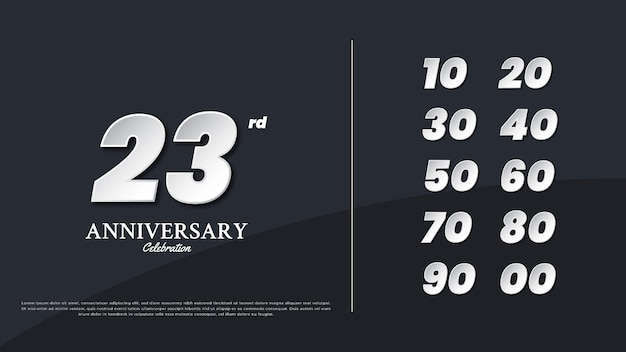 Anniversary numbers illustration text template for celebration design, minimalist and simple design.