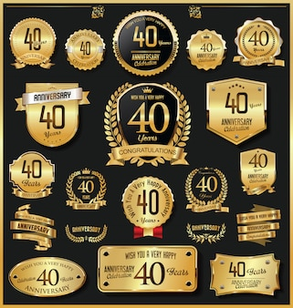 Anniversary retro vintage golden badges and labels vector