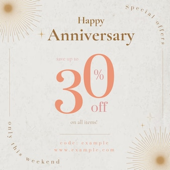 Anniversary sale ad template vector for social media post