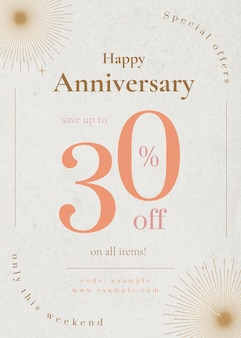 Anniversary sale poster template for social media post