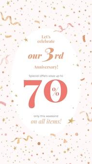 Modello di vendita dell'anniversario con il 70% di sconto per i post sui social media