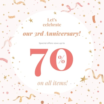 Anniversary sale template with 70% off for social media post