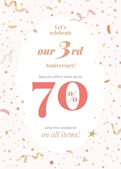 Anniversary sale template with 70 percent off for social media post