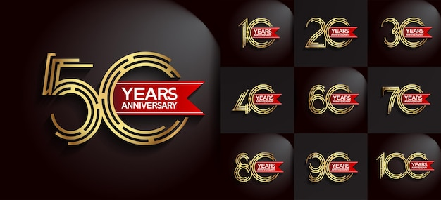 Anniversary set logo style with golden color and red ribbon