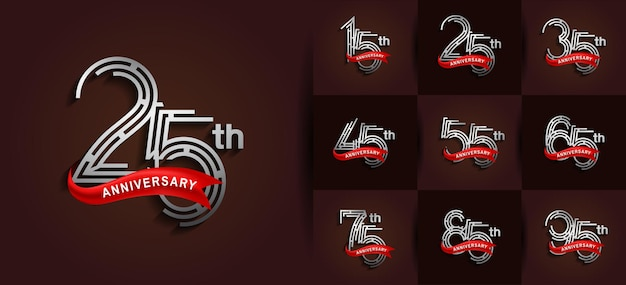 Anniversary set logo style with silver color and red ribbon