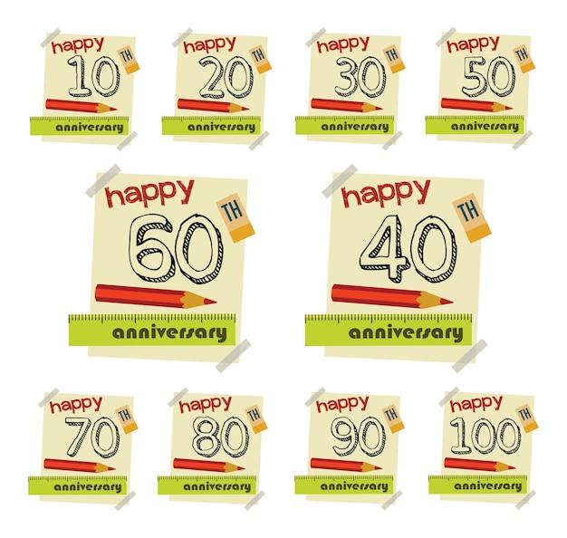 Юбилейная коллекция значков и открытки в плоском стиле. шаблон юбилейной, юбилейной или б