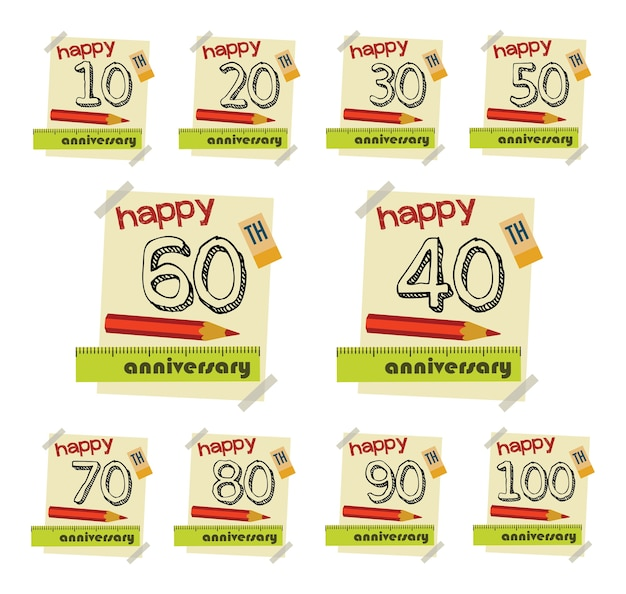 Anniversary sign collection and cards in flat style. template of anniversary, jubilee or b