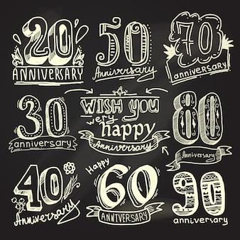 Anniversary signs chalkboard set