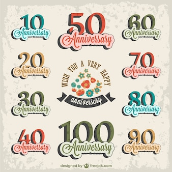 Anniversary stickers set