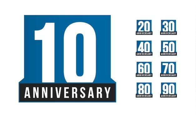 기념일 벡터 아이콘입니다. 생일 로고 템플릿입니다. 인사말 카드 디자인 요소입니다. 간단한 비즈니스 10년 엠블럼. 파란색 엄격한 스타일 번호입니다. 흰색 배경에 고립 된 벡터 일러스트 레이 션