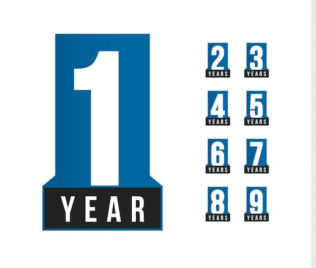 Юбилейный вектор значок. шаблон логотипа дня рождения. элемент дизайна поздравительной открытки. эмблема юбилей простой бизнес. синий строгий номер стиля. отдельные векторные иллюстрации на белом фоне