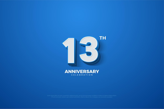 해군 파란색 배경에 양각 된 3d 숫자가있는 기념일
