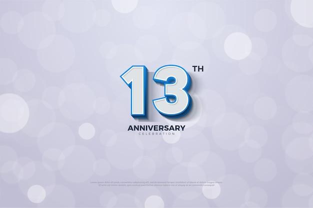 단색 파란색 테두리로 표시된 3d 숫자가있는 기념일