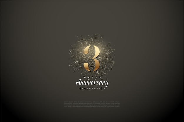 Anniversary with gold numerals and glitter on a vignette background