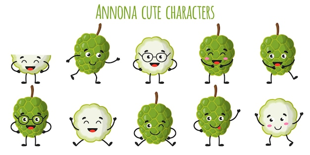 Annona fruit cute funny cheerful characters with different poses and emotions. natural vitamin antioxidant detox food collection.   cartoon isolated illustration.