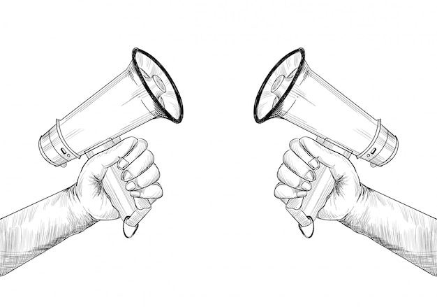 Announcement concept hand holds megaphone sketch design