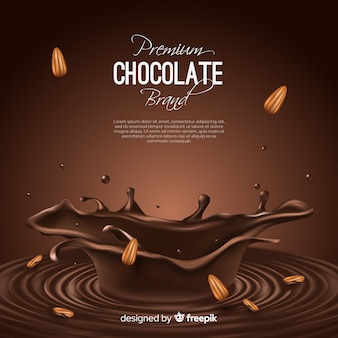 Announcement of delicious chocolate with almonds