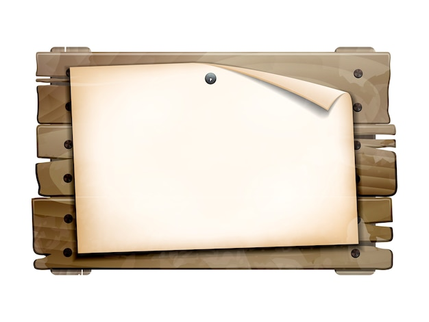 Announcement, empty paper blank on old wooden board.  illustration  on white background
