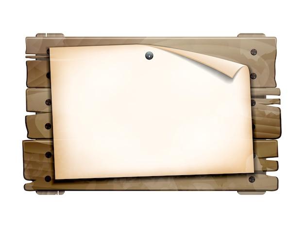 お知らせ、古い木の板に空白の空の紙。白い背景の上の図