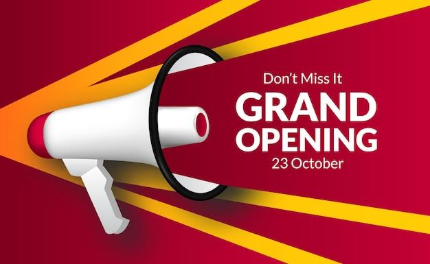メガホンスピーカーによる発表グランドオープン。ビジネスのフレアマーケティングバナーテンプレートは、式を再度開きます。テキストは赤と黄色で叫びます