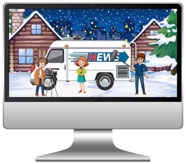 アナウンサーがコンピューター画面に天気予報ニュースを報告
