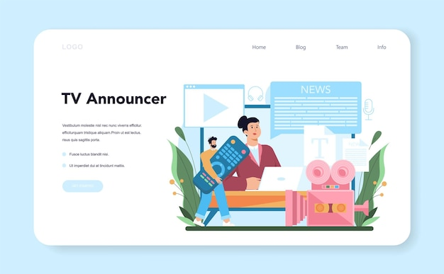 Announcer web banner or landing page