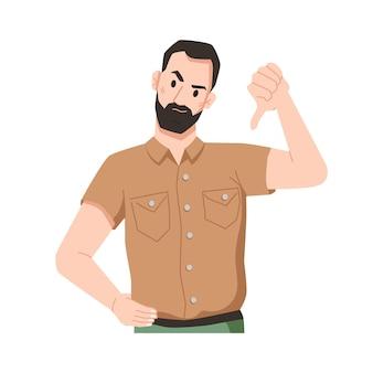 Раздраженный бородатый мужчина показывает неодобрение большим пальцем вниз