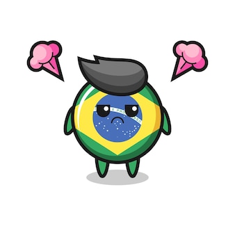 Annoyed expression of the cute brazil flag badge cartoon character , cute style design for t shirt, sticker, logo element